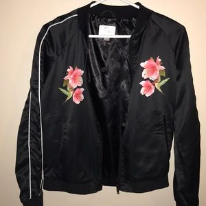Black jacket with flowers